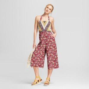 Floral Print Halter Top Jumpsuit